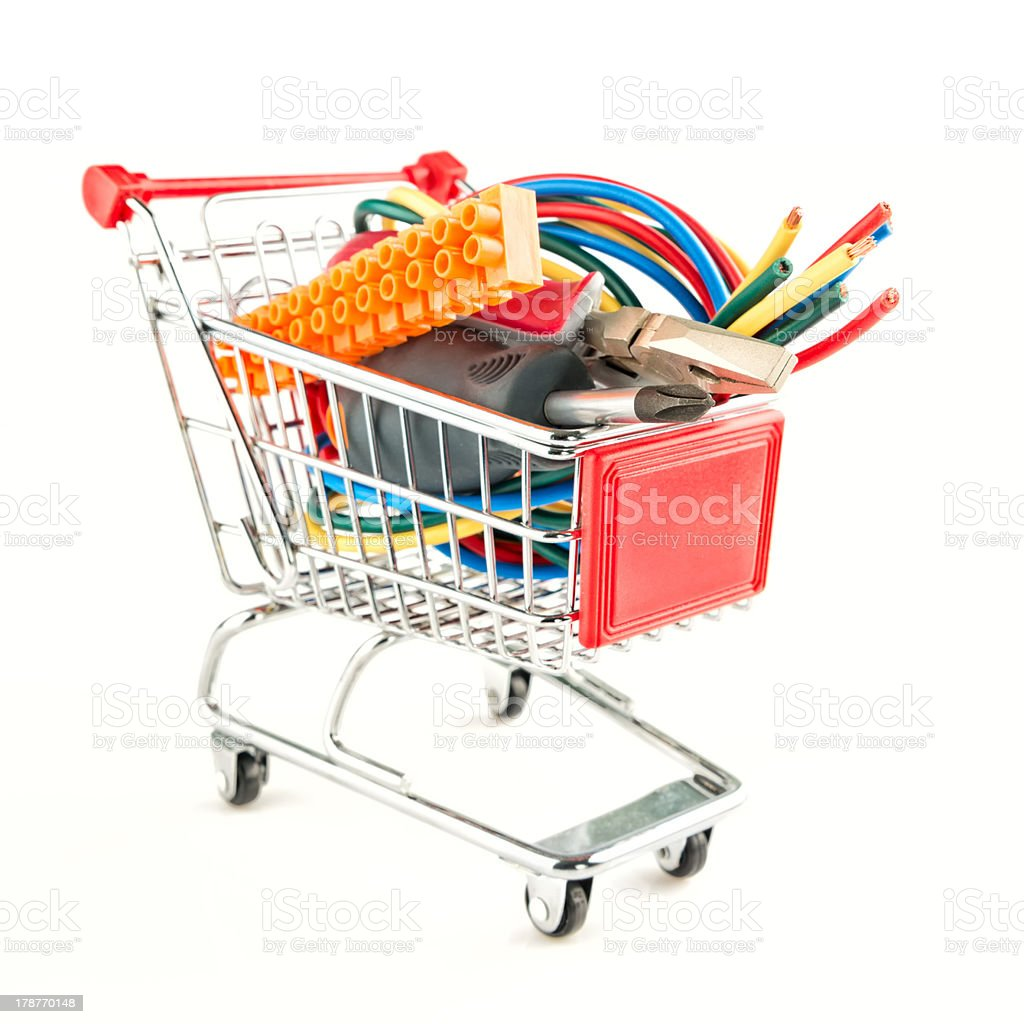 electric tools in a shopping cart royalty-free stock photo