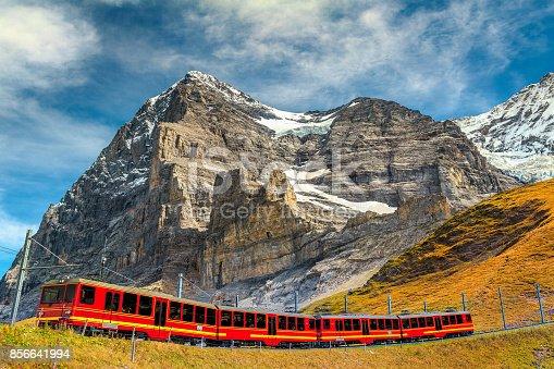istock Electric tourist train and famous Eiger peak, Bernese Oberland, Switzerland 856641994