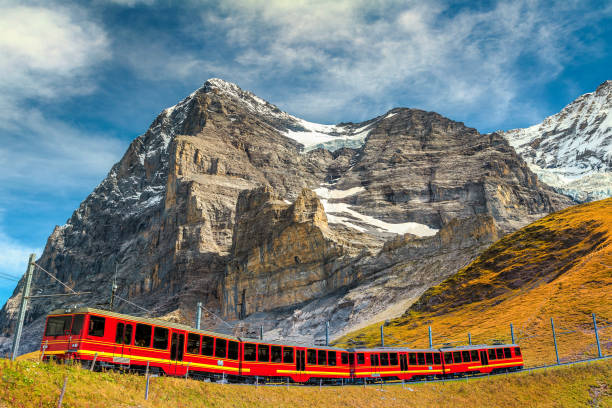 Electric tourist train and famous Eiger peak, Bernese Oberland, Switzerland Famous express electric red tourist train coming down from the Jungfraujoch station(top of Europe) in Kleine Scheidegg tourist station, Bernese Oberland, Switzerland, Europe swiss alps stock pictures, royalty-free photos & images