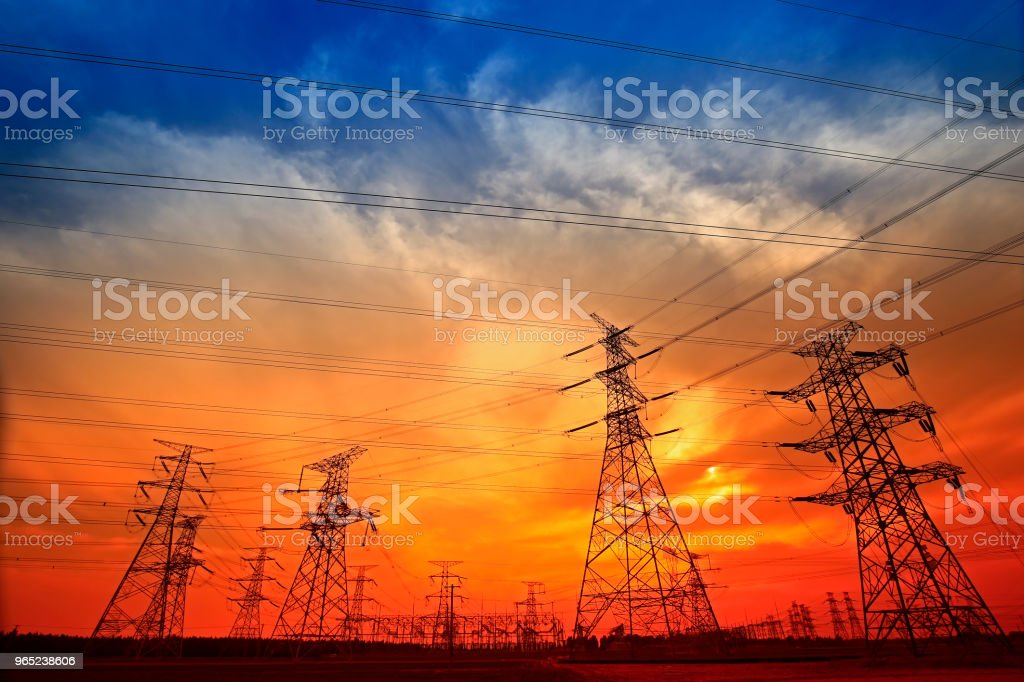 Electric tower, silhouette at sunset zbiór zdjęć royalty-free