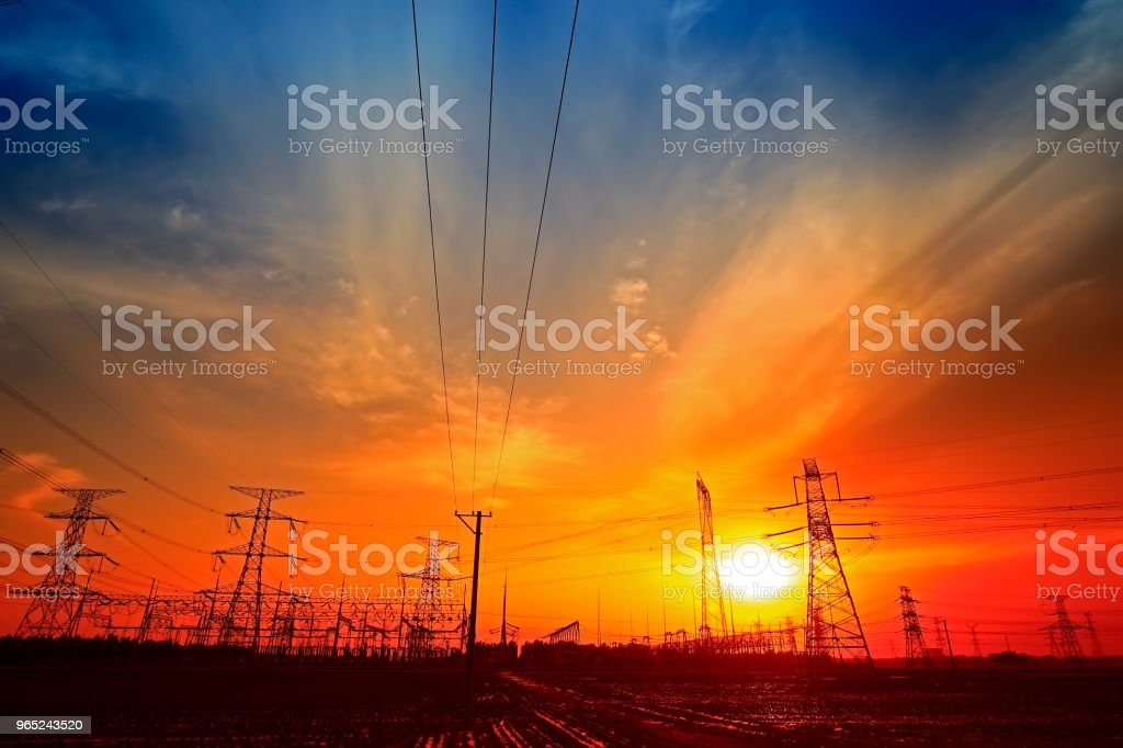 Electric tower, silhouette at sunset royalty-free stock photo