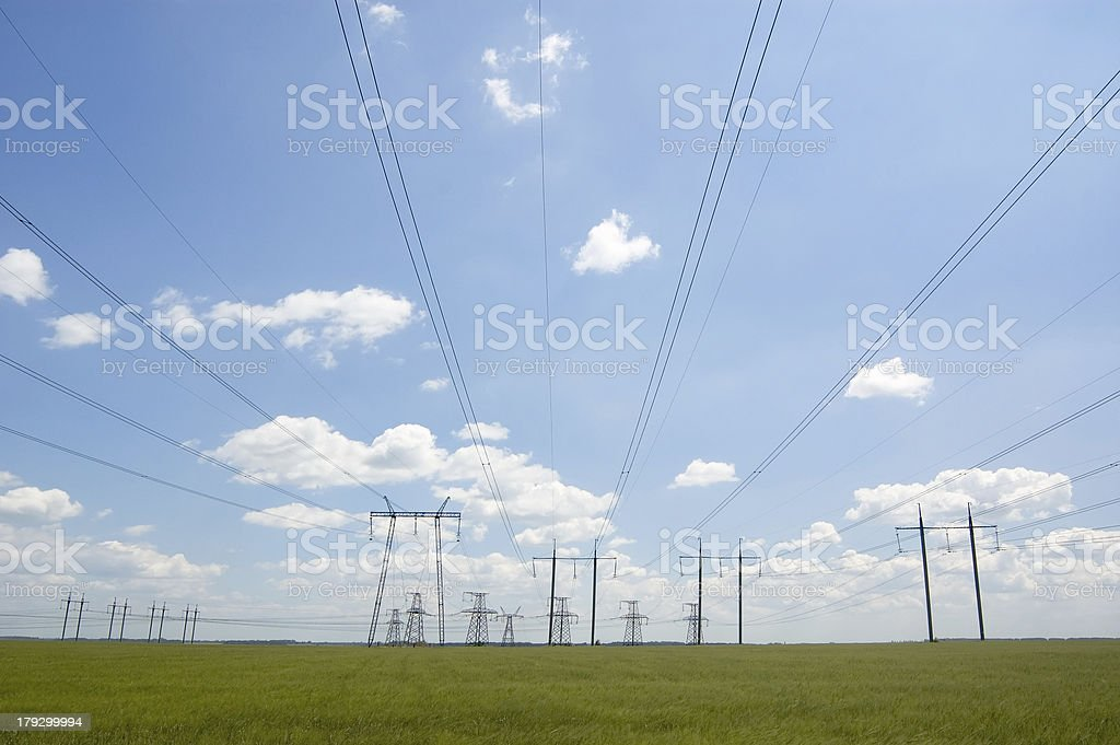 electric towers and cables royalty-free stock photo
