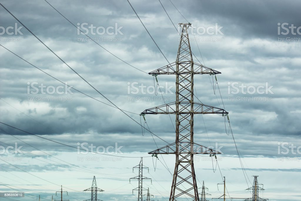 Electric towers stock photo