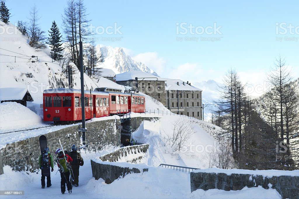 Electric train in Chamonix stock photo