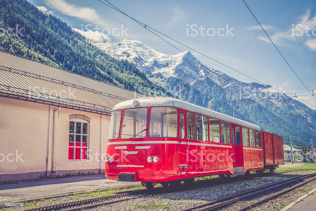 Electric train in Chamonix stock photo