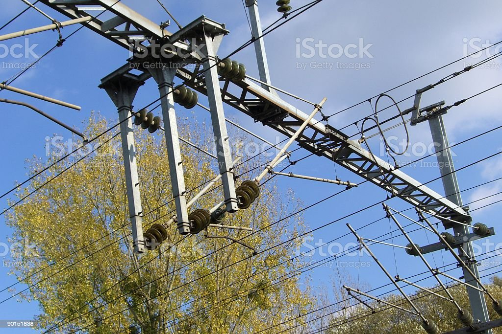 electric train wires - stock image