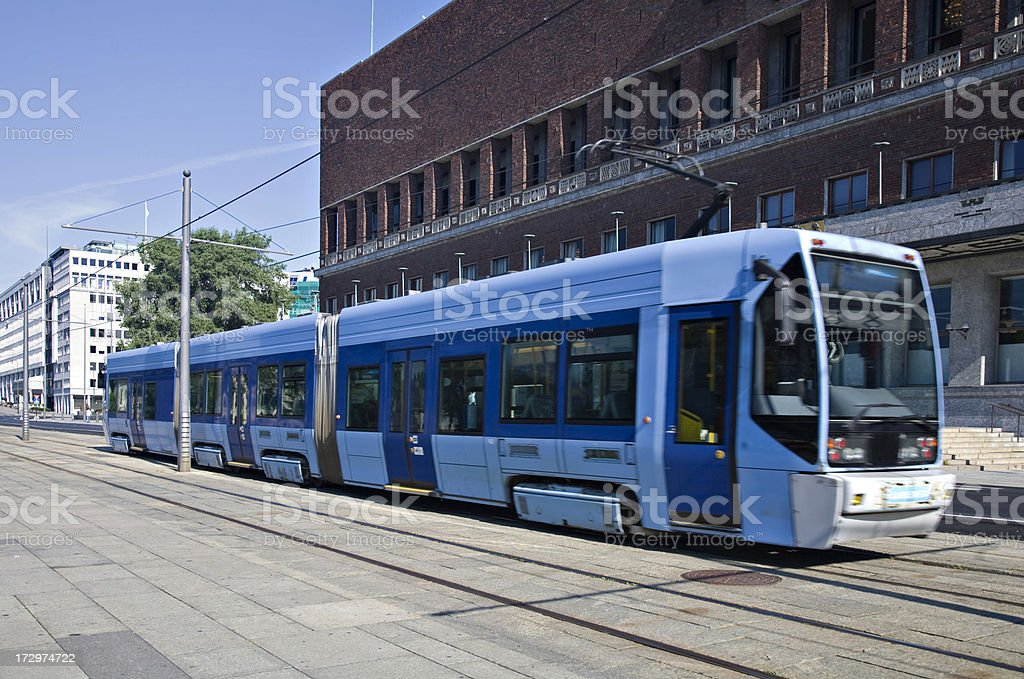 Electric Tram in Oslo royalty-free stock photo