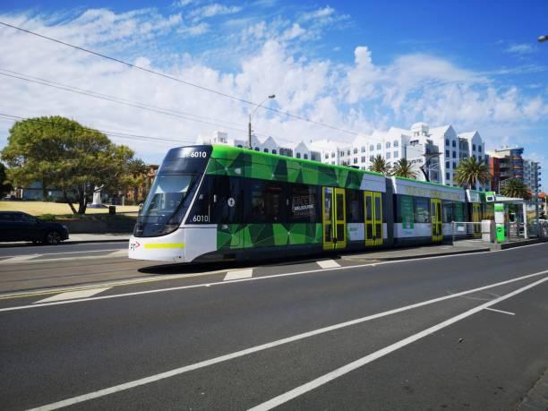 Electric Tram in St Kilda - Melbourne stock photo