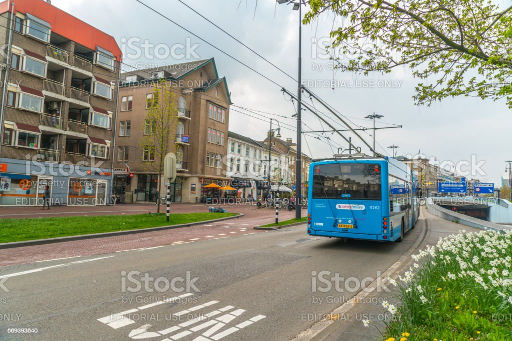 Electric Trolley bus stock photo