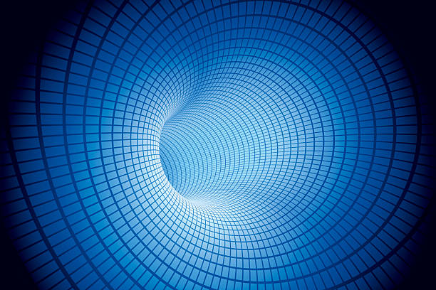 Electric Tunnel Blue Mesh Pattern 3D Render inside of a blue tube with a rectangled mesh pattern. Very high resolution available! Use it for Your own composings! abstract 3d stock pictures, royalty-free photos & images