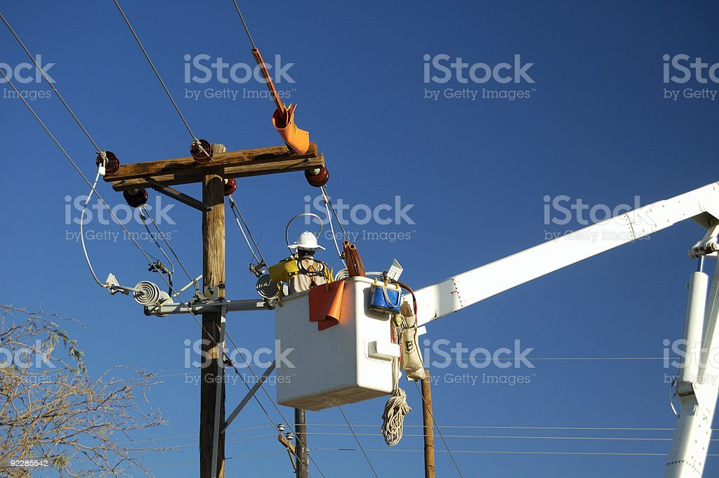 Electric Utility Lineman stock photo