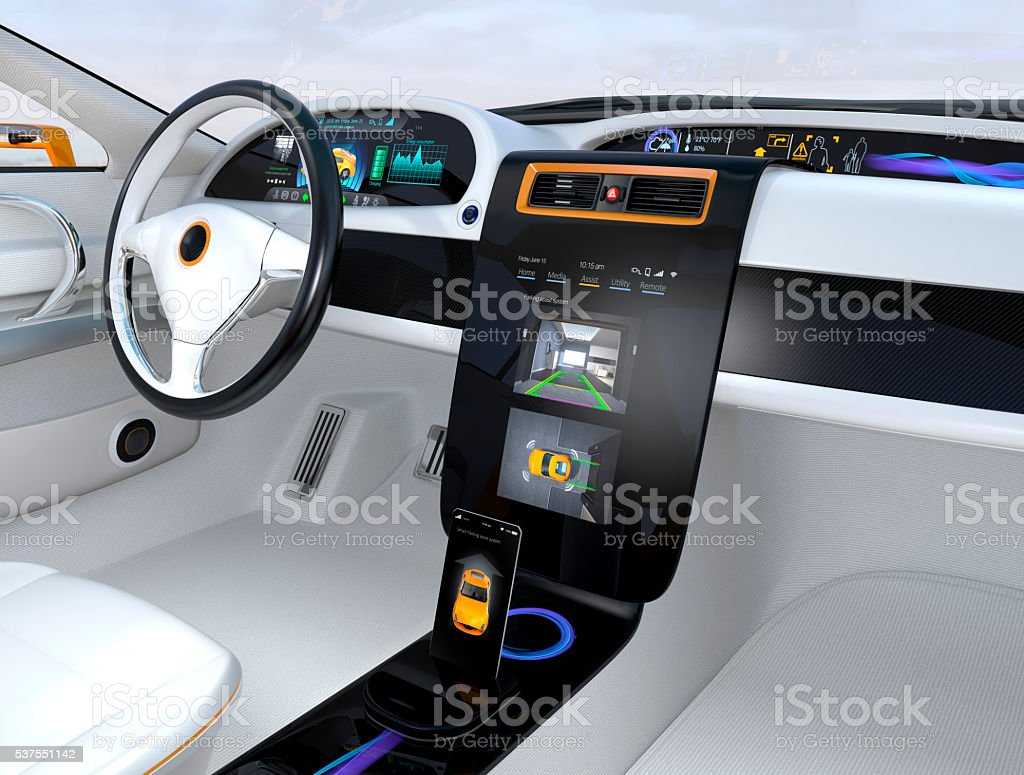 Electric vehicle automatic parking system interface concept stock photo