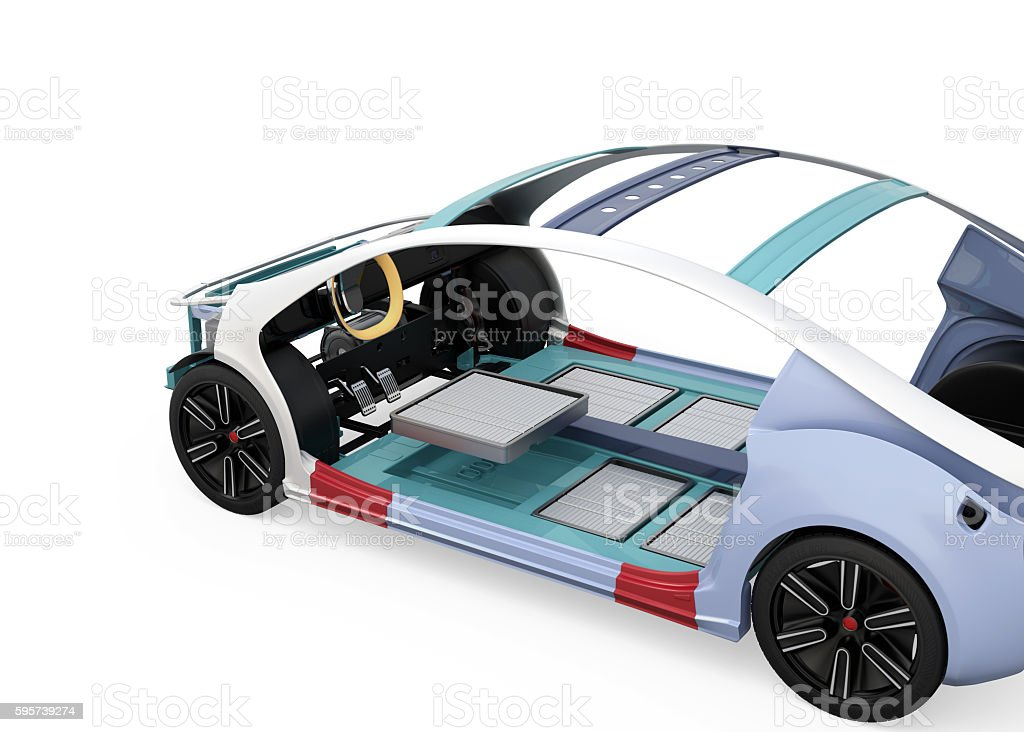 Electric vehicle body frame and battery package stock photo