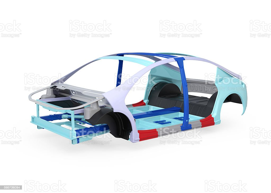 Electric vehicle body frame isolated on white background stock photo