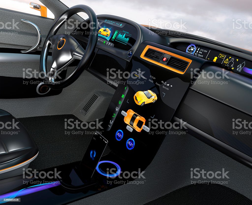Electric vehicle center display Interface concept stock photo