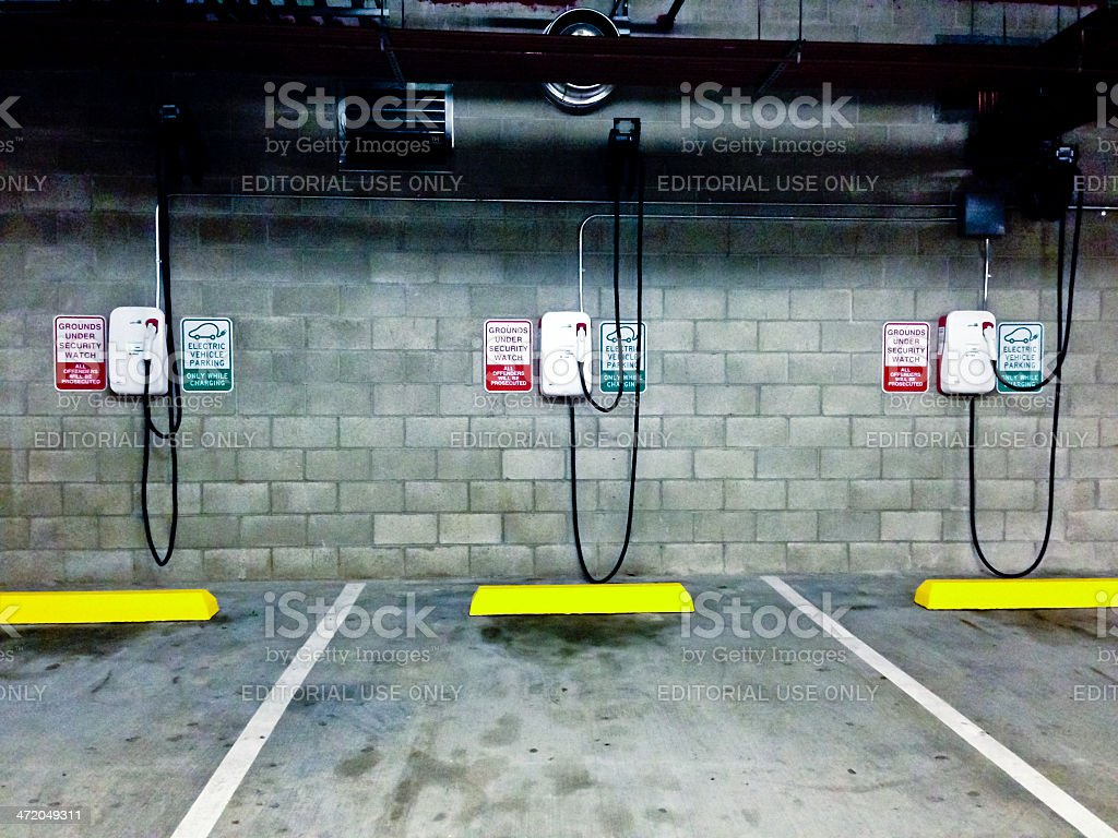 Electric Vehicle Charging Parking Lots stock photo