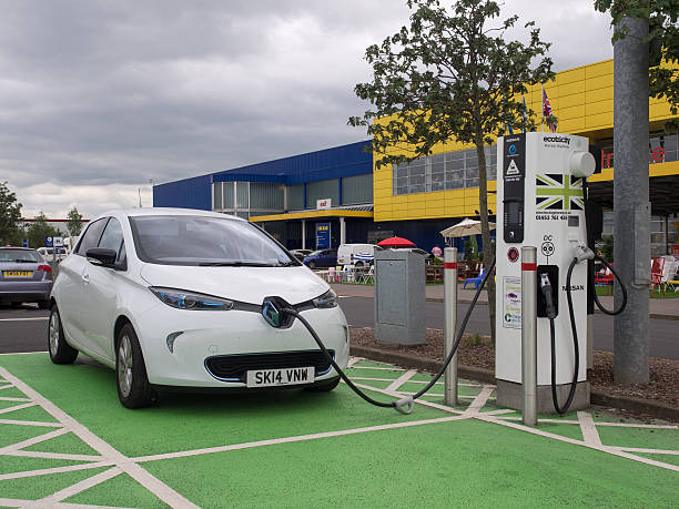 Electric Vehicle Charging. stock photo