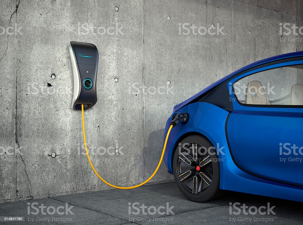 Electric vehicle charging station for home. stock photo