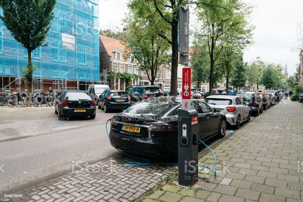Electric vehicle charging station in Amsterdam stock photo