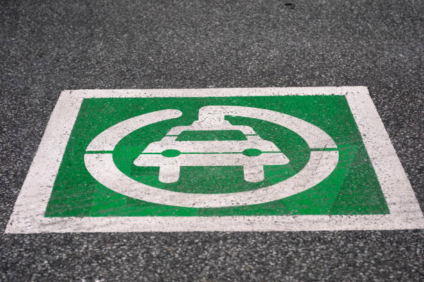 Electric Vehicle Charging Station Parking Lot Symbol in Lasalle Ontario Canada stock photo