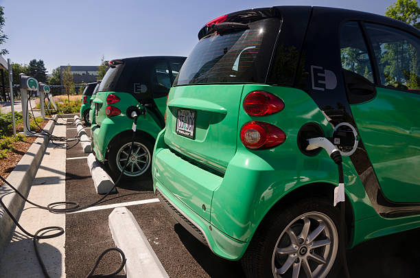 Electric Vehicle Charging Stations stock photo