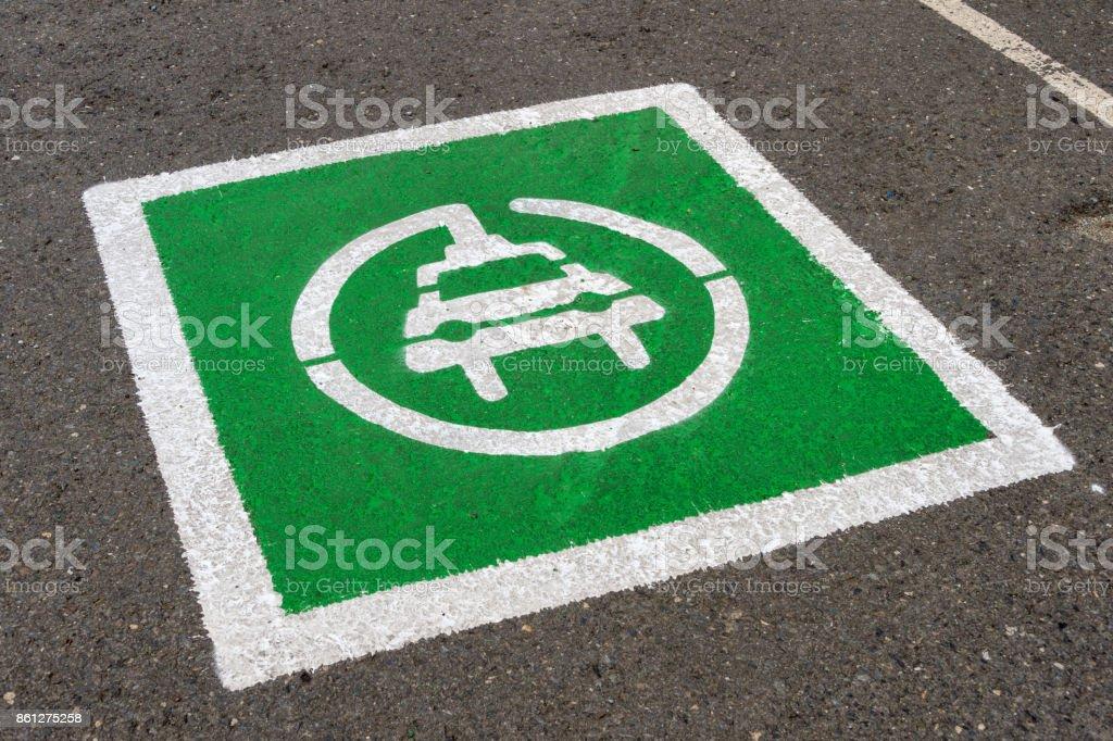 Electric Vehicle designated parking spot stock photo