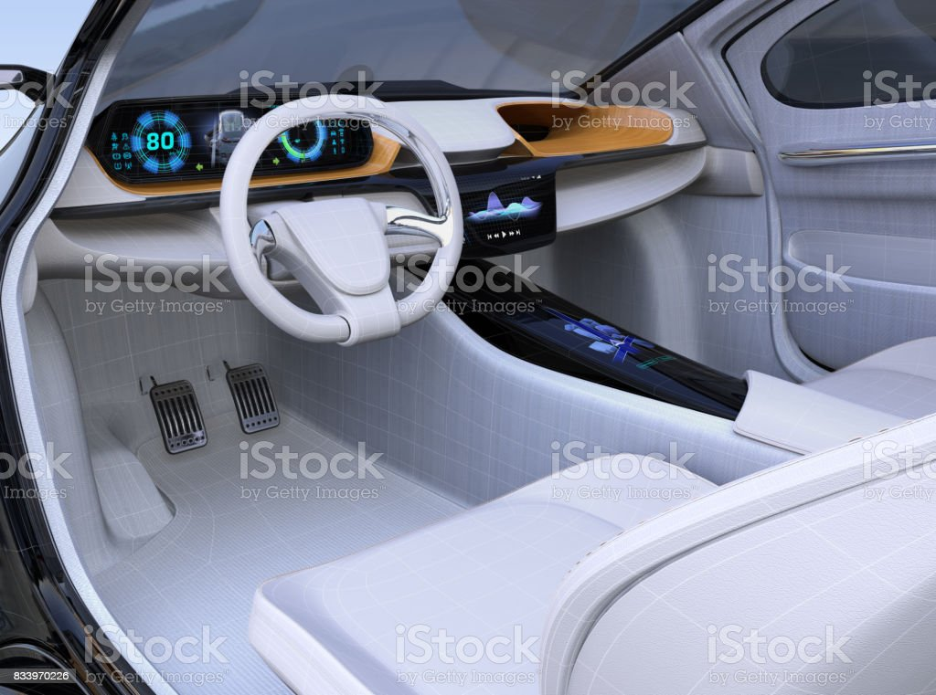 Electric vehicle interior concept in wireframe stock photo