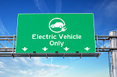 Electric vehicle only green traffic road sign with symbol of electric car on sky background. Ecology and environmental concept background. 3d illustration