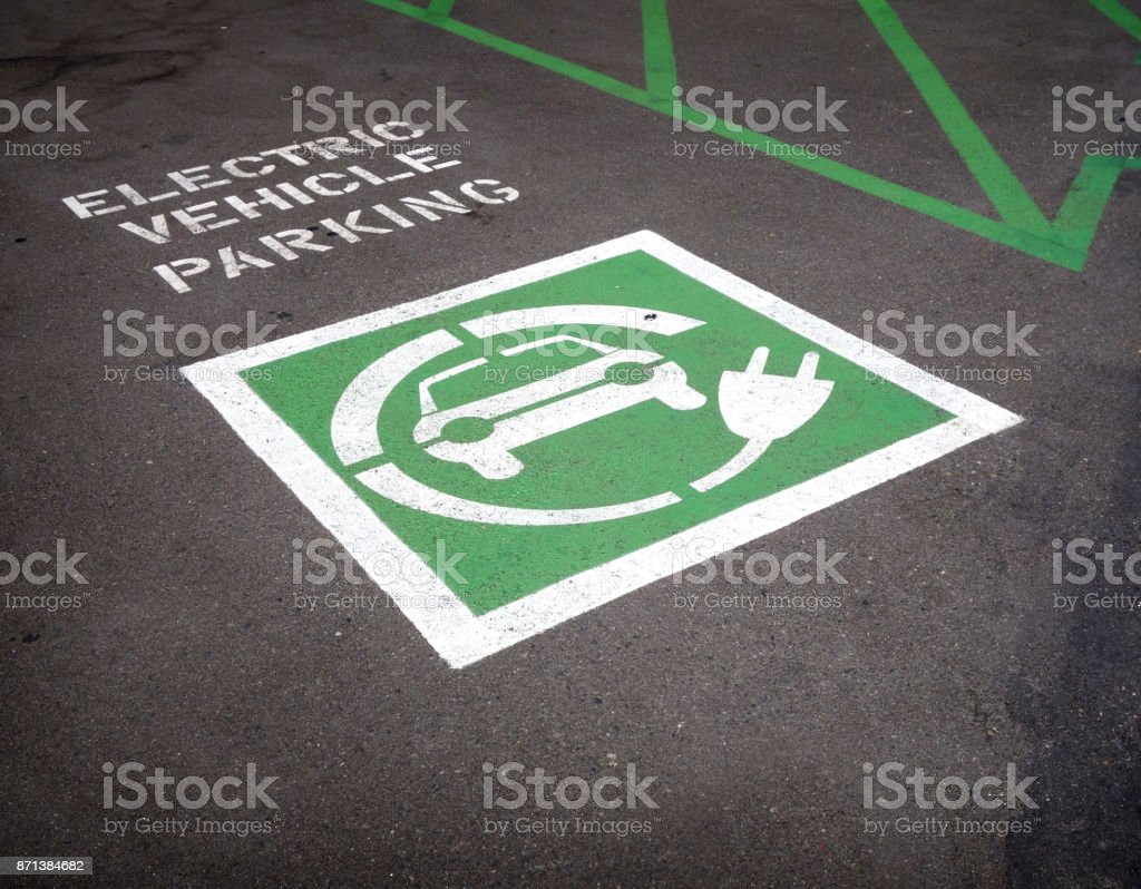 electric vehicle parking stock photo