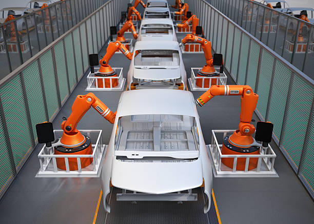 Electric vehicles body assembly line stock photo