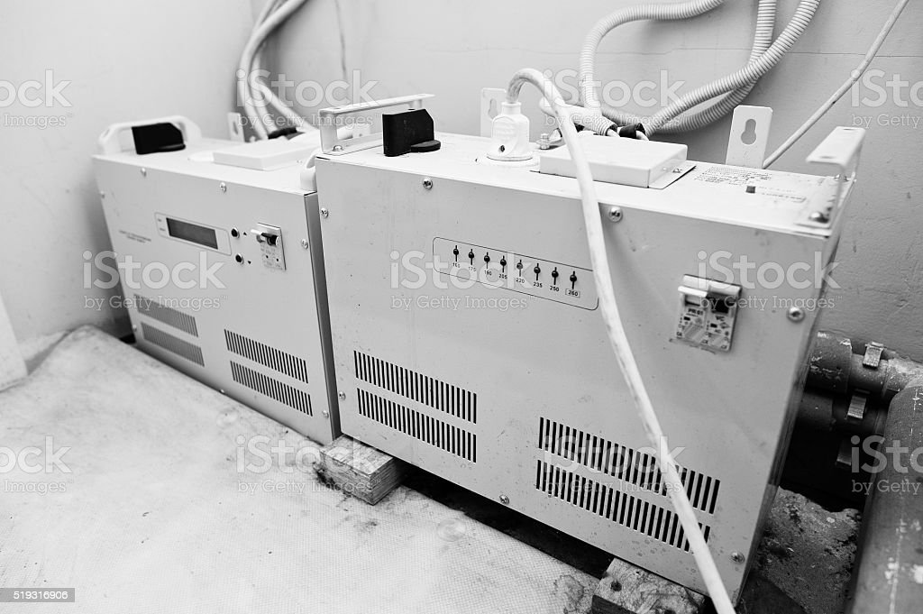 Electric voltage control stabilizer, ups stock photo