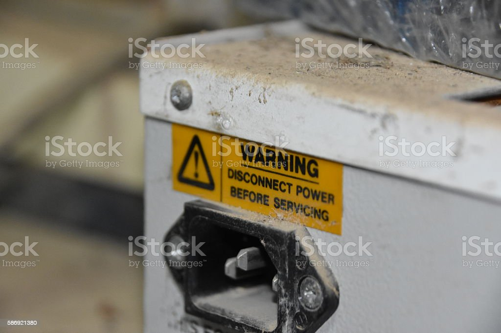Electric warning sign stock photo
