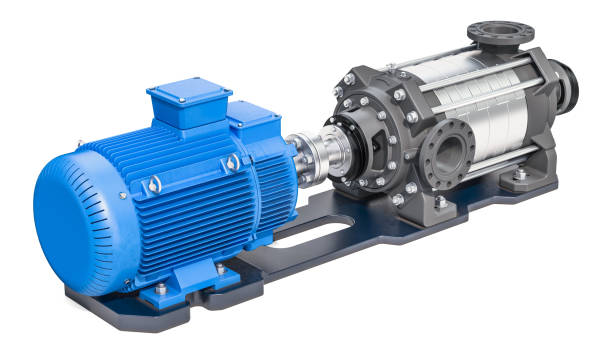 Electric water pump, horizontal multistage centrifugal pump. 3D rendering isolated on white background Electric water pump, horizontal multistage centrifugal pump. 3D rendering isolated on white background centrifuge stock pictures, royalty-free photos & images