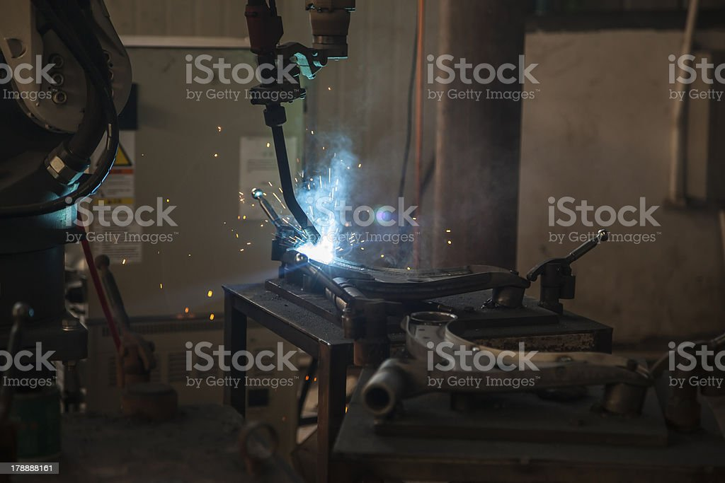 electric welding in a car spare workshop.