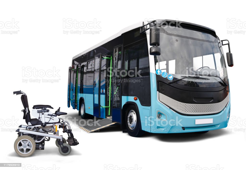 Electric Wheel Chair and City Bus Electric wheel chair near to city bus with a platform isolated on white background. Battery Stock Photo