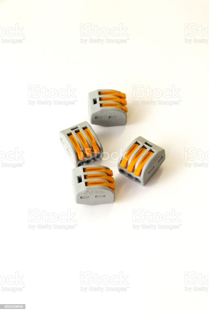 Electric wire connectors for 220v 380v stock photo
