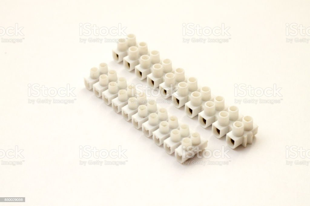 Electric wire connectors for 220v stock photo