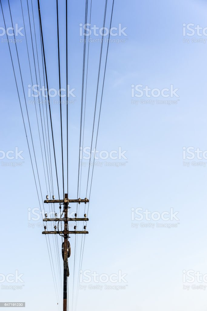 electric wire on the pole stock photo
