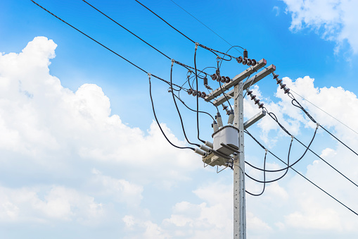 Electric wire on the pole, power