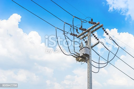 istock Electric wire on the pole, power 505942258