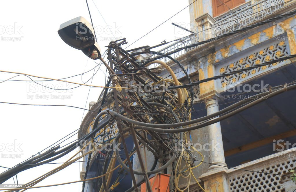 Enjoyable Electric Wire Telephone Pole Delhi India Stock Photo More Pictures Wiring 101 Ferenstreekradiomeanderfmnl