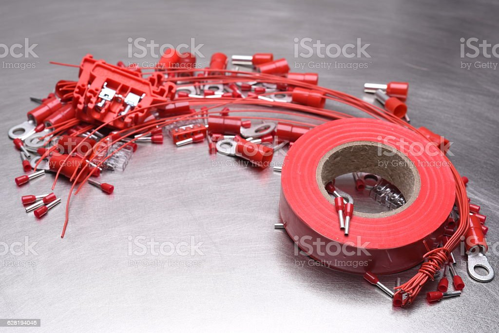 Electrical Accessories on Metal Background stock photo