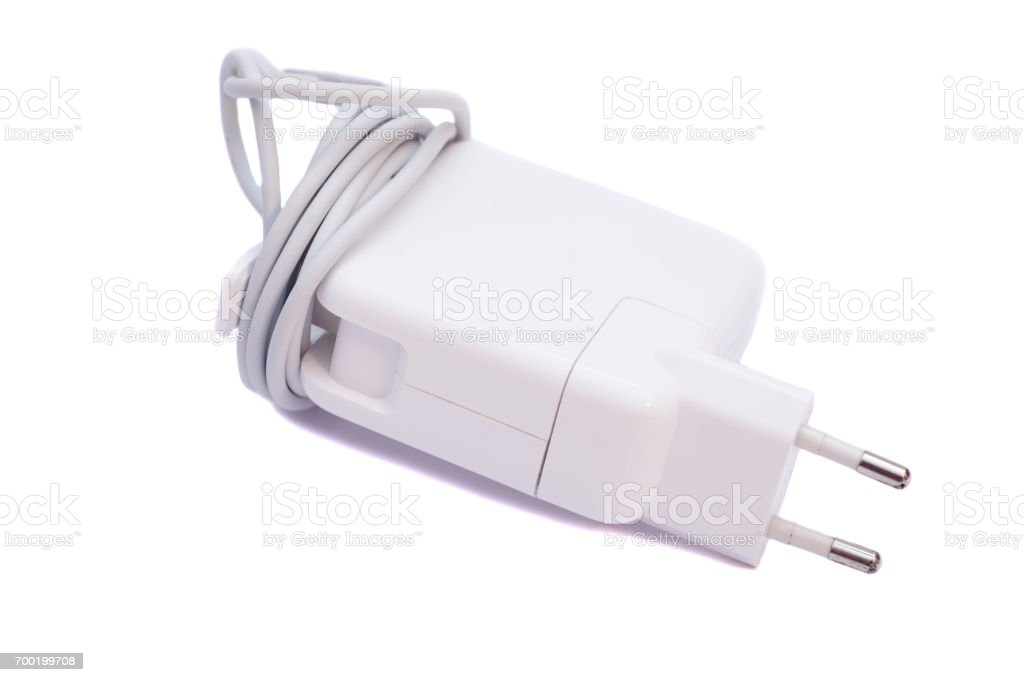 Electrical adapter to USB port isolated on white background stock photo