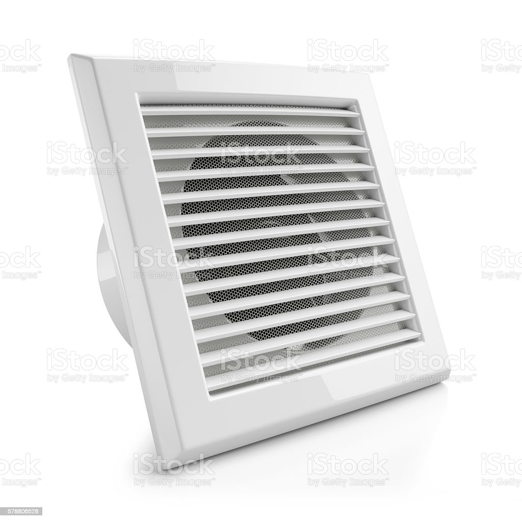 Electrical air vent fan isolated on white background 3d stock photo