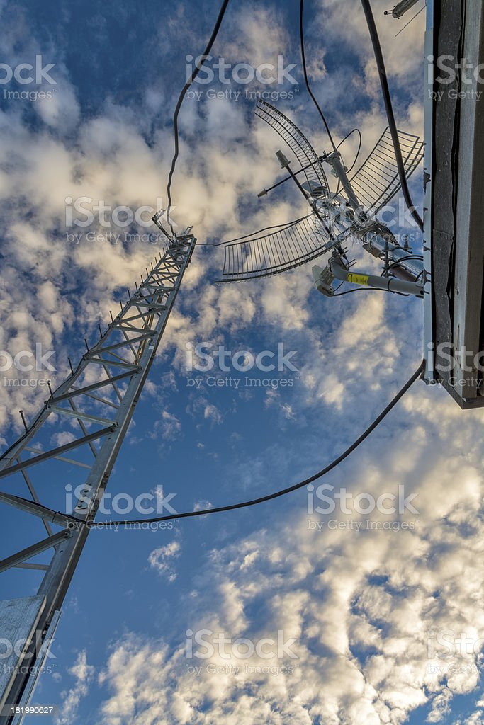 Electrical antenna and blue sky with clouds royalty-free stock photo