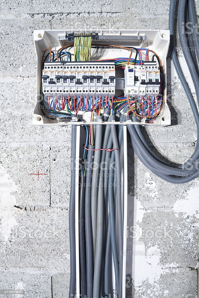 Electrical box installation stock photo