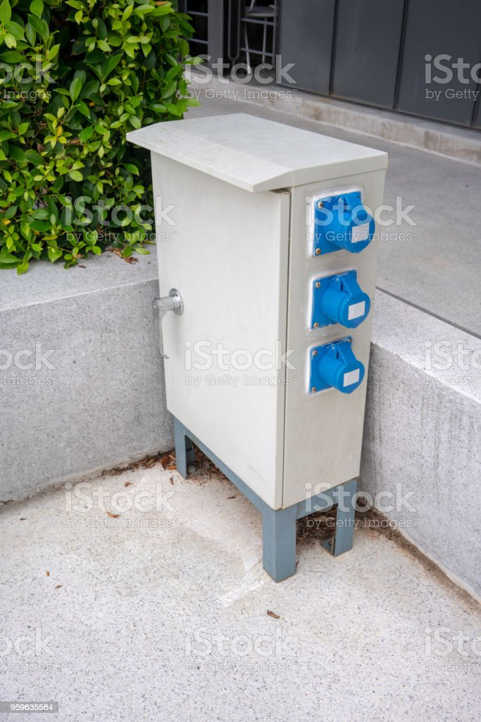 Electrical Cabinet At The Corner Along The Walkway Outdoor Power Cabinet Stock Photo Download Image Now Istock