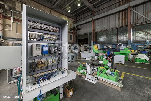 istock Electrical cabinet, the assembly of the electrical control system of a metalworking machine 856912958