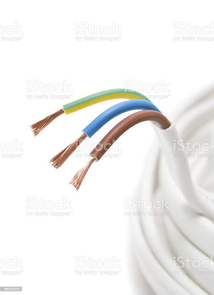 Electrical cable on White background royalty-free stock photo