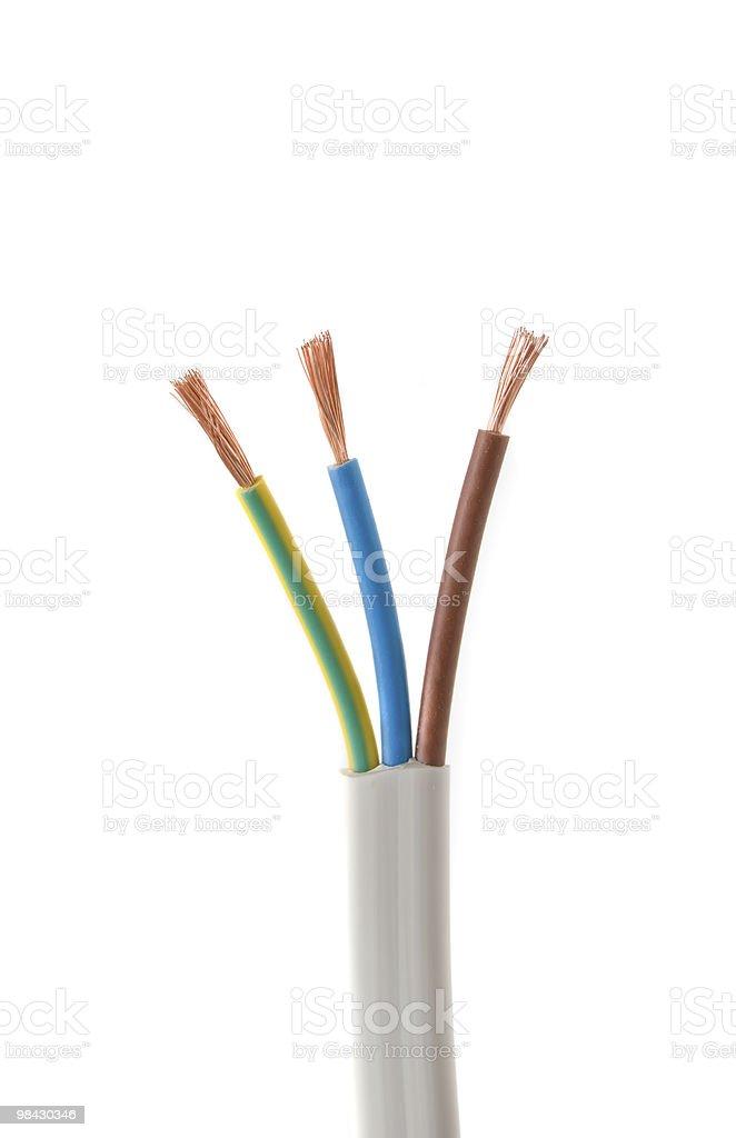 Cavo elettrico su sfondo bianco foto stock royalty-free